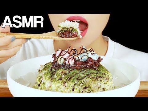 ASMR MATCHA SHAVED ICE DESSERT 🍨BINGSU🍨 EATING SOUNDS MUKBANG