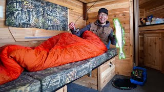 OFF-GRID Camping In A EXPENSIVE Ice Castle! (FISHING FROM BED)