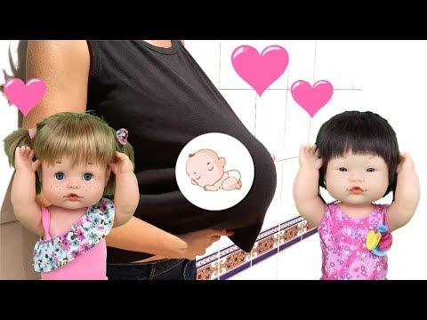 Muñecas bebes nenuco: hermanitas Pily y Mily y el embarazo de su mama. Aventuras de bebe Lola