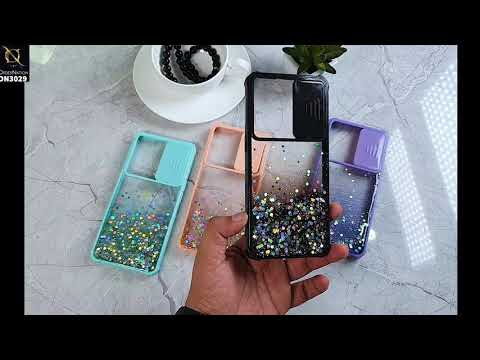 Vivo Y20 Cover - Pink - Camera Slide Bling Glitter Shinny Stars Soft Border Case - Glitter Does Not Move