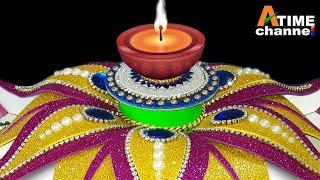 Diwali Diya Stand Decoration Ideas | Diwali Decoration Idea At Home | Cardboard Candle Stand DIY