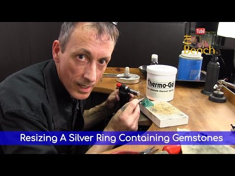 Resizing A Silver Ring Containing Gemstones – Using Thermo Gel  – Jewelry Repairs