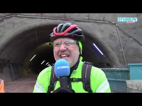 Mit dem Fahrrad durch den Tunnel Bad Cannstatt bis zum Hauptbahnhof