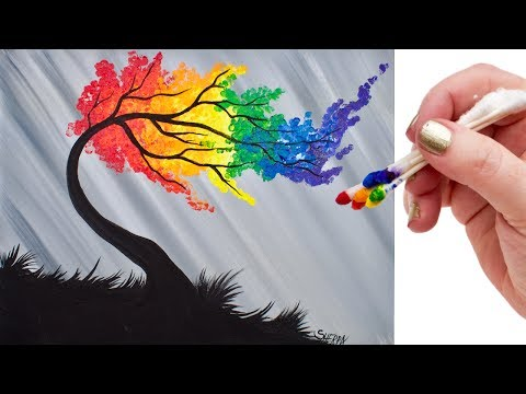 drawing rainbow willow tree using cotton buds for beginners by theartsherpa
