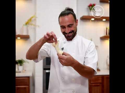 , title : 'Eggplant Balls Alla Pizzaiola Style on Top of Crispy Puff Pesto Twist
