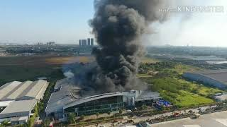 Pantauan Udara Kebakaran Pt Dynaplast Cikarang