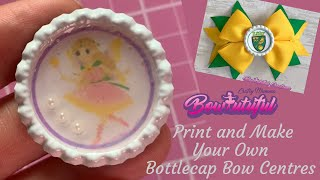 Print Your Own Bottle Cap Images...How To Make Hair Bows. DIY Hair Bows Tutorial  🎀 Laços De Fita: