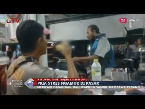 Gangguan Jiwa, Pria Ngamuk di Pasar Kebumen sambil Bawa Pedang - BIM 06/03
