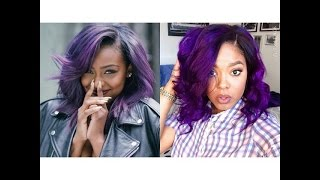 Free Hair?Purple Hair &Style Bob Lace Wigs Tutorial+WowAfrican Giveaway!
