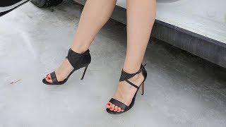 sexy high heels on ice, high heels sandals on snow, slippy high heels walk, slippy shoes (scene 173)
