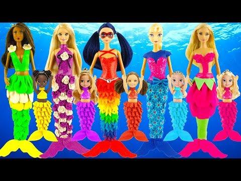 Glitter toy DIY play doh mermaid dresses   Aurora Elsa Rapunzel   New play doh design