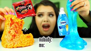 the slime video nobody asked for.. Spicy Ramen Slime, dish soap slime  +more