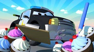 รถตำรวจสำหรับเด็ก  🚒 ร้านเบเกอรี่ของ แครี่ เจ้ารถลูกกวาด ถูกปล้น! - หน่วยลาดตระเวนรถใน คาร์ ซิตี้!