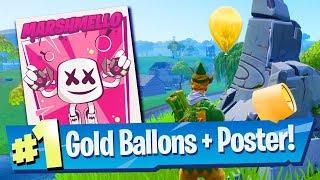 Pop 10 Golden Balloons Locations + Marhsmello Showtime Poster (Fortnite Season 7 Week 9 Challenges)