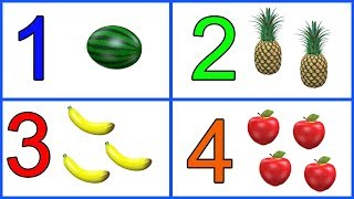 Learn 1 to 10 Numbers & Fruit Names | 123 Number Names | 1234 Counting for Kids | Cartoon Video