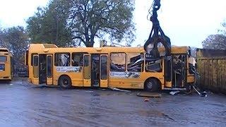 WOW Shredding A Bus For Metal Recycling At Scrap Bone Yard