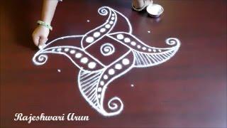 easy swan rangoli designs || simple kolam designs || chukkala muggulu designs