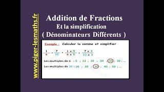Math 5ème ( Partie 2 ) : Addition des fractions et Simplification ( Cas dénominateurs différents )