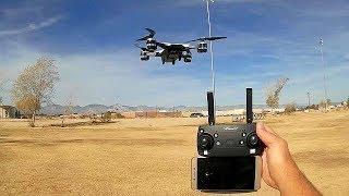 YH 19HW 720p HD FPV Selfie Camera Drone Flight Test Review