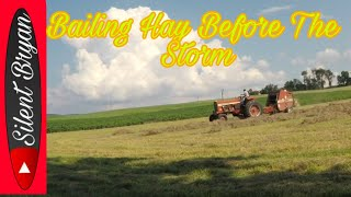 Time To Bale Hay Before The Storm On The Farmall 756, During And After The Storm