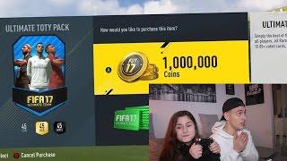 DAS 1.000.000 COINS TOTY PACK MIT MEINER SCHWESTER!! ⛔️🔥😱 FIFA 17 PACK OPENING