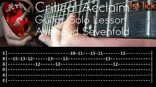 Critical Acclaim Guitar Solo Lesson - Avenged Sevenfold (with tabs)