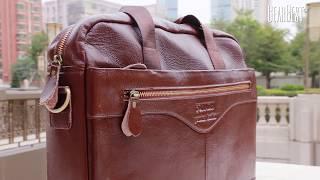 FONMOR Men Genuine Leather Business Briefcase Laptop Bag Handbag - GearBest.com