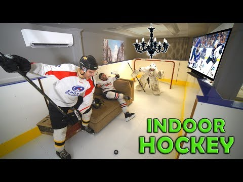 We Turned his WHOLE House into a Hockey Rink PRANK!!!