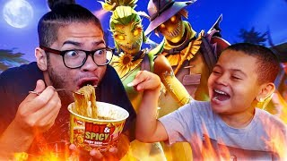 1 KILL = EXTREME SPICY NOODLE CHALLENGE WITH NO WATER!! *ALMOST DIED* 10 YEAR OLD BROTHER FORTNITE!