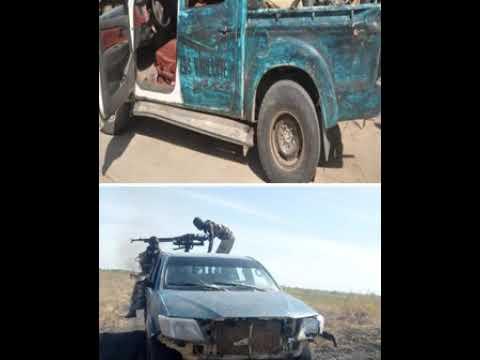 CAPTURED BOKO HARAM GUN TRUCKS MOUNTED WITH ANTI AIRCRAFTAND AOJUE MOTORCYCLEDURING FAILLED AMBUSH I