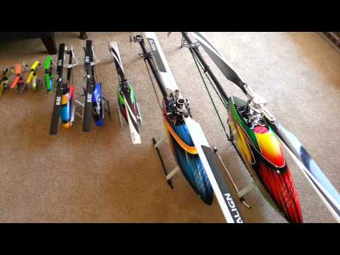 Helicopter size comparison review.. Align Trex, Blade…