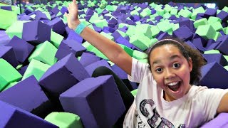 CRAZY TRAMPOLINE PARK HIDE AND SEEK! Toys AndMe | Family Fun video