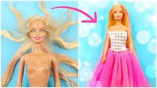 DIY BARBIE HAIRSTYLES AND CLOTHES   How To Make Doll Dress And Fixing OLD DOLL Hair