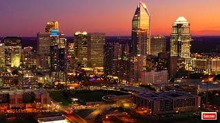 Charlotte, North Carolina Skyline at Night 4K Screensaver | Charlotte, NC Drone Footage 4K