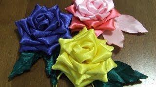 Розы из ткани Цветы из атласной  ленты в стиле канзаши.