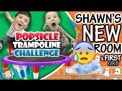 POPSICLE Trampoline Challenge / Shawn's New Bedroom + Baby's First Cold (๑◕︵◕๑)  FUNnel Vision VLOG