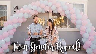 TWIN GENDER REVEAL Party!- Confetti Cannon Surprise!