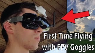 First Time Flying with FPV Goggles - Skyzone 02X
