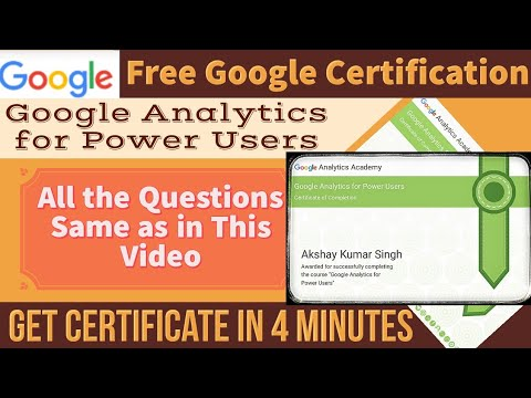 Google Free Certification   Google Analytics for Power Users ...