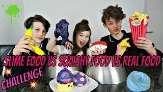 SLIME FOOD vs SQUISHY FOOD vs REAL FOOD CHALLENGE - Bibi, Hugo, Tobias - Video Youtube