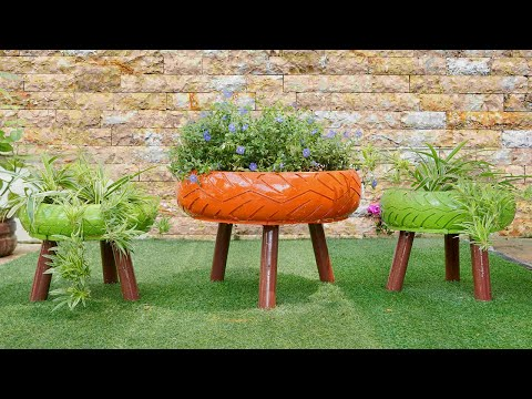Recycle Tires into Beautiful Flower Pots for Small Garden and Balcony Garden