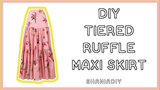 How To Make A Tiered Ruffle Maxi Skirt || Shania DIY