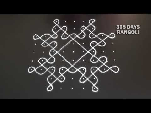Beautiful Sikku Rangoli with Diya,9 dots Kambi Kolam,Rangoli Design for Diwali Festival,ಬಳ್ಳಿ ರಂಗೋಲಿ
