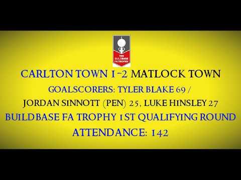 1920 Carlton Town 1-2 Matlock Town (FA Trophy 1Q Round) Match Highlights 30/10/2019