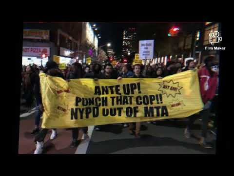 Subway protest in New York against police