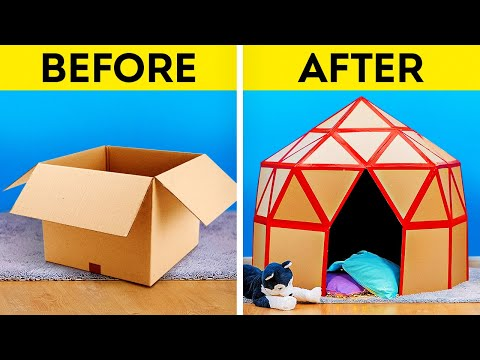 15 CARDBOARD CRAFTS || Easy Upgrade Hacks and Plastic Recycle Ideas