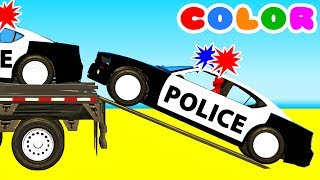 COLOR POLICE CARS on BUS & Spiderman Cartoon with Superheroes for kids and babies!