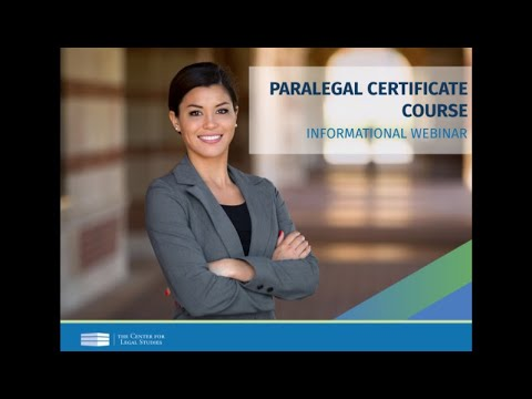 Paralegal Certificate Course© Webinar (August 2020) | The Center for Legal Studies