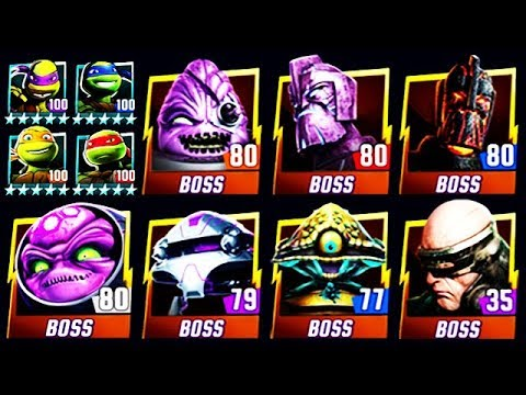 ALL PLATINUM MAX LEVEL 100 NICK TURTLES vs ALL BOSSES (TMNT LEGENDS)