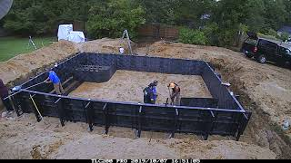Day 1 - Pool Installation Time Lapse - Custom Polymer Wall & Vinyl liner